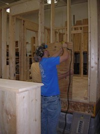 People building furniture