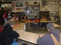 Construction students in a classroom