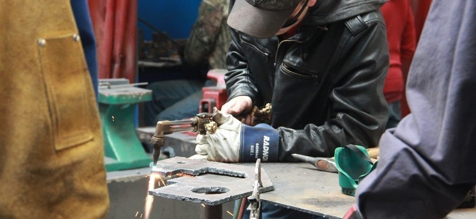 NCOC Welding Student with Plasma Cutter, Grand Gorge, NY