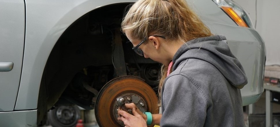 Automotive Student Changes Brakes, NCOC, Grand Gorge, NY