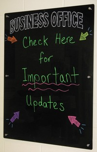 Message board outside of the Business Office.